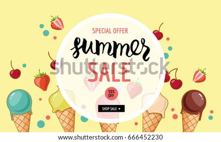 Summer sale banner template. Ice cream, strawberries, cherries. Cartoon style. Vector illustration. #666452230