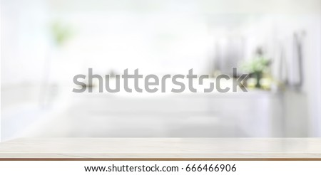 Empty marble top table with blurred bathroom interior Background. for product display montage. Royalty-Free Stock Photo #666466906