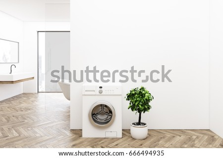 White bathroom interior with a washing machine, wooden floor, a tree in a pot, a sink and a tub. Panoramic window. 3d rendering mock up #666494935