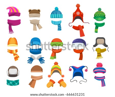 Winter or autumn headwear collection. Vector knitting hats, caps and scarfs for girls and boys for cold weather isolated on white background Royalty-Free Stock Photo #666631231