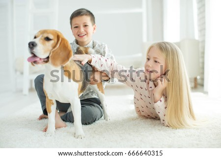 Children with a dog #666640315