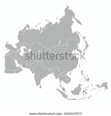best Asia outline world map  Royalty-Free Stock Photo #666661813