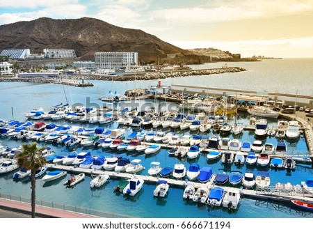Marina in Puerto Rico de Gran Canaria. Royalty-Free Stock Photo #666671194