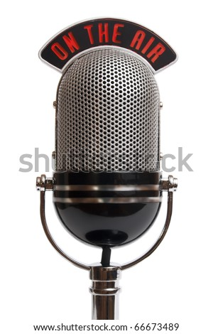 Retro microphone isolated on a white #66673489