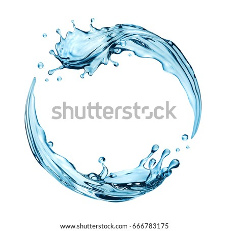3d render, digital illustration, blue wave, water splashing round frame, aqua, clear liquid splash isolated on white background