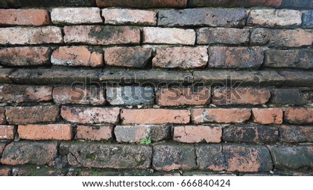 The old brick wall with dirty black stain. #2 #666840424
