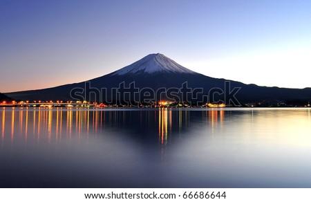 Beautiful mt Fuji in twilight #66686644