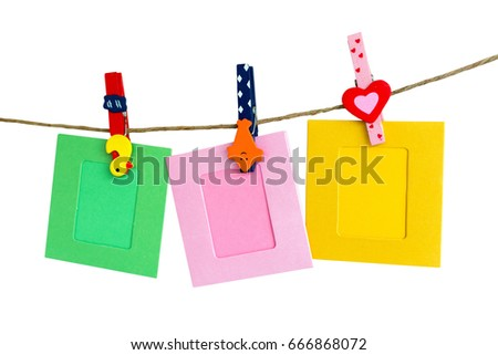 Photo Frame hanging on the rope with White background.