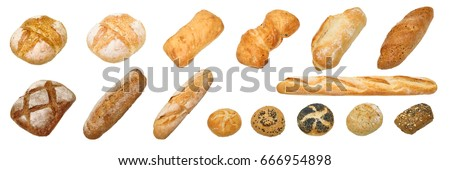 Bread and bakery. Different kinds of non sweet bakery and bread: whole grain bread, ciabatta, brown homemade, baguette, etc. isolated on white background with work path. #666954898