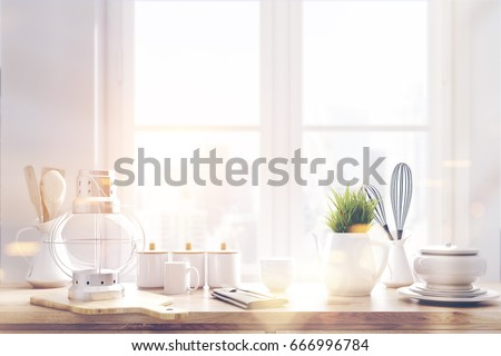 Laid brown kitchen talbe with white kitchenware, utencils and a large window in the background. 3d rendering #666996784
