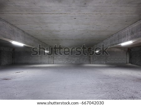Empty Warehouse Interior. Industrial Shed or Parking Lot. Urban, Rough Under-construction Background. #667042030