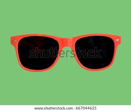 Red Sunglasses Green Background       #667044625