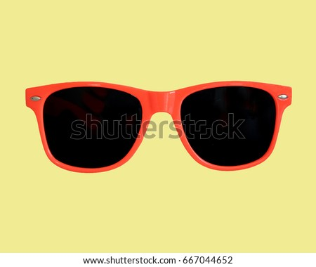 Red Sunglasses Yellow Background       #667044652