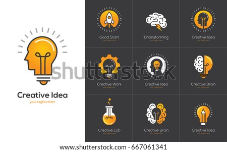 Icons set with brain, light bulb, human head. Creative idea, mind, nonstandard thinking logo. Isolated on black background Royalty-Free Stock Photo #667061341