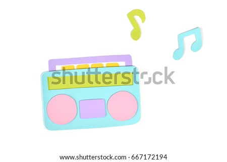 Radio paper cut on white background - isolated (handmade paper cut, not illustration)