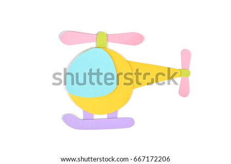 Helicopter paper cut on white background - isolated (handmade paper cut, not illustration)
