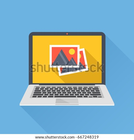 Photos icon on laptop screen. Multimedia, sharing images, digital photo album app concepts. Modern simple long shadow flat design for web banners, websites, infographics. Creative vector illustration