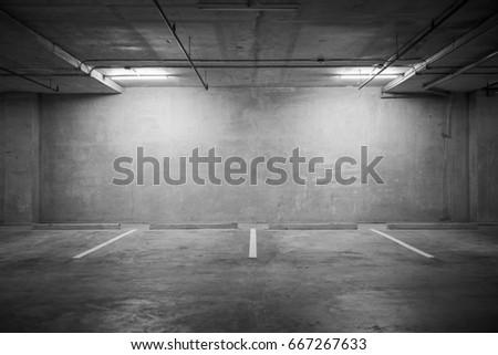 Parking garage department store interior with blank billboard. #667267633