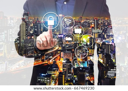 Double Exposure - Businessman touching on padlock symbol, network security concept #667469230