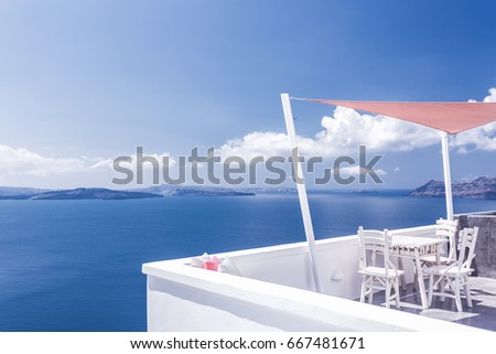 Beautiful terrace with sea view. Oia, Santorini island, Greece. #667481671