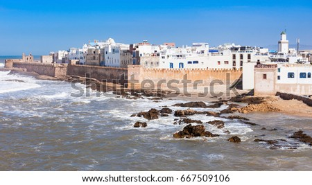 Essaouira Ramparts aerial panoramic view in Essaouira, Morocco. Essaouira is a city in the western Moroccan region on the Atlantic coast. #667509106