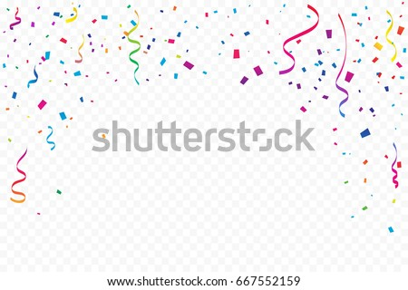 Many Falling Colorful Tiny Confetti And Ribbon On Transparent Background. Celebration Event and Party. Multicolored. Vector Royalty-Free Stock Photo #667552159