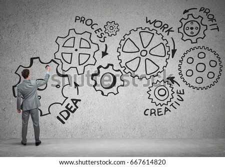 Businessman standing with back and drawing concept of teamwork and cooperation #667614820