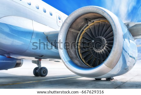 jet engine against a sky #667629316