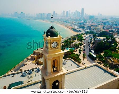 Bell tower, Jaffa, Tel Aviv, Israel, Aerial viewg #667659118