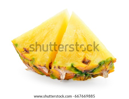Pineapple slices isolated on white background. #667669885
