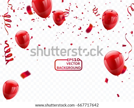 red balloons, vector illustration. Confetti and ribbons, Celebration background template with. Royalty-Free Stock Photo #667717642