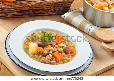 delicious country style soup with vegetable and meat #66775243