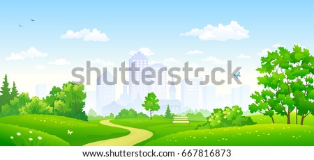 Vector illustration of a beautiful summer city park, panoramic banner