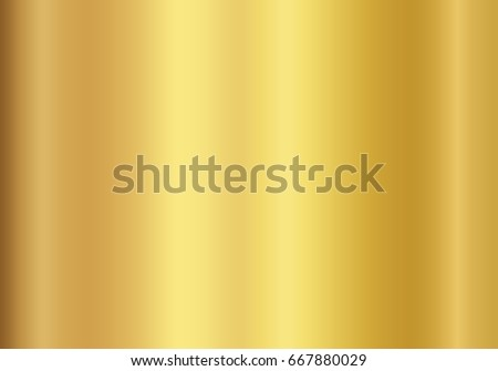 Gold foil texture background. Realistic golden vector elegant, shiny and metal gradient template for gold border, frame, ribbon design. Royalty-Free Stock Photo #667880029