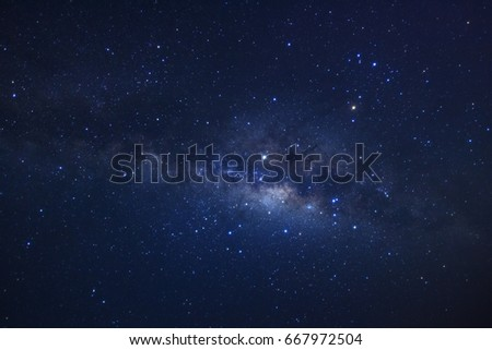 Milky way galaxy. Long exposure photograph.With grain #667972504