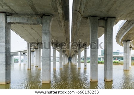 High pillars of expressway?Elevated expressway. The curve of suspension bridge,  #668138233