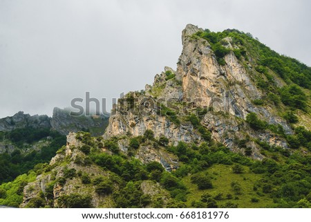 Rocky mountain landscape in the Somiedo's valley in Asturias - Spain, brown bears habitat #668181976