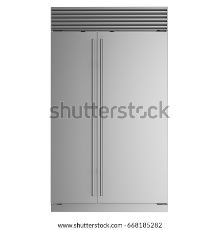 Double door fridge isolated front view. 3D Rendering. Concept model. #668185282