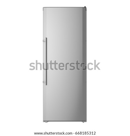 Single door fridge isolated front view. 3D Rendering. Concept model. #668185312