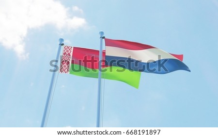 Belarus and Netherlands, two flags waving against blue sky. 3d image #668191897