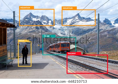 Machine Learning analytics identify person technology , Artificial intelligence concept. Software ui analytics and recognition people in mountain view with flare light effect (blur all human face) #668210713