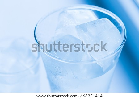 Fresh mineral cold water in glasses with ice. Nature drink background. Healthy lifestyle space. Detox diet. Thirst in life. Summer ecology drinking #668251414