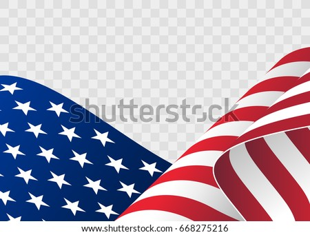 Waving flag of the United States. illustration of wavy American Flag for Independence Day. American flag on transparent background vector illustration. US, USA, banner.