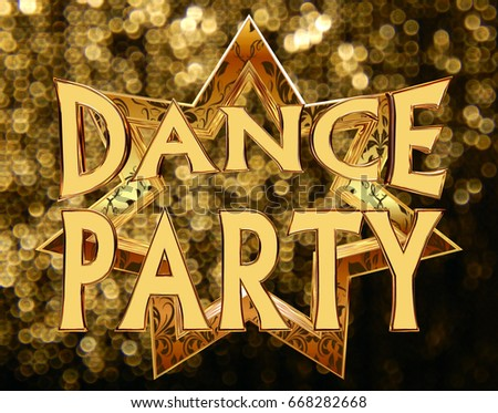 3d rendering. Text dance party on a golden star on a brilliant background #668282668