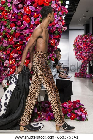 NEW YORK, NY - February 02, 2017: A model walks the runway at the Palomo Spain show during New York Fashion Week Men's F/W 2017 at Cadillac House #668375341