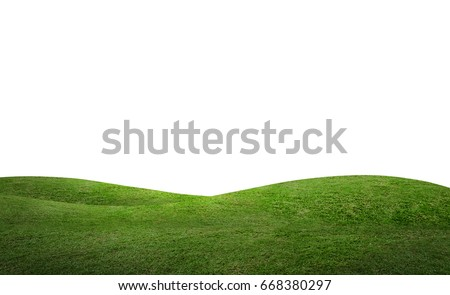 Green hill of grass field isolated on white background with clipping path. Royalty-Free Stock Photo #668380297