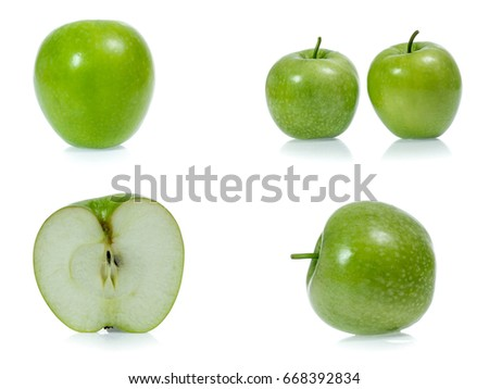 Green apple collection isolated on white background (set) #668392834
