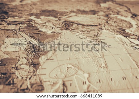 Vinnitsa, Ukraine - December 6, 2016: The world map, abstract background, travel concept #668411089