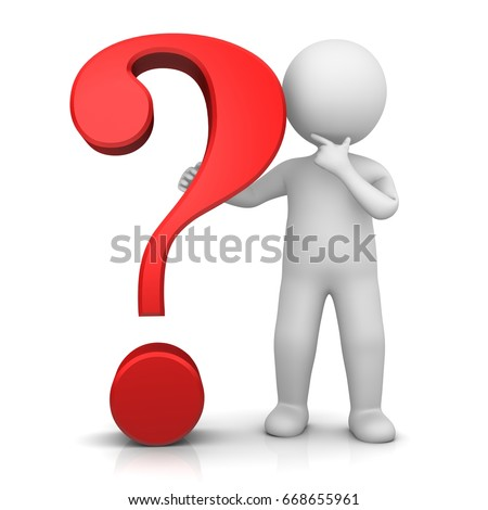question mark red 3d rendering illustration with thinking man interrogation point asking sign colored  isolated on white background with stick man for business presentation and print