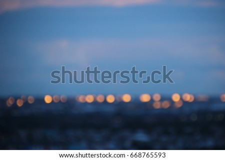 dark blue cloud with white light sky background and city light midnight evening time   #668765593